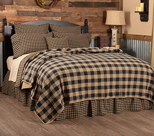 VHC Brands Primitive Bedding Black Check Quilted Coverlet, Luxury King