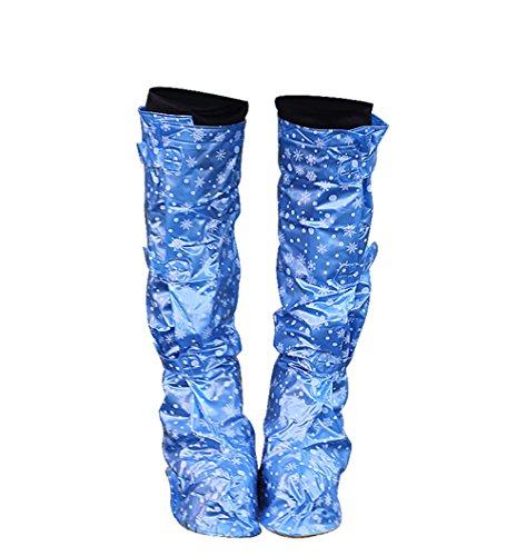 zhxinashu Zapatos a Prueba de Agua Botas Altas para Mujer Zapatos de Lluvia Velcro Botas Sobrecalzadas,Azul,M