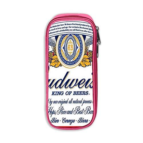 Budweiser Bier Logo Unisex Oxford Doek Potlood Case Office School Bureau Potlood Tas met Rits Eén maat roze