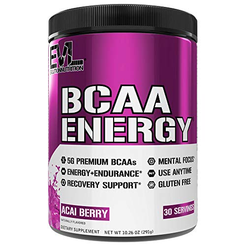 Evlution Nutrition BCAA Energy - Essential BCAA Amino Acids, Vitamin C, + Natural Energizers for Performance, Immune Support, Muscle Building, Recovery, B Vitamins, Pre Workout, 30 Serve, Acai Berry