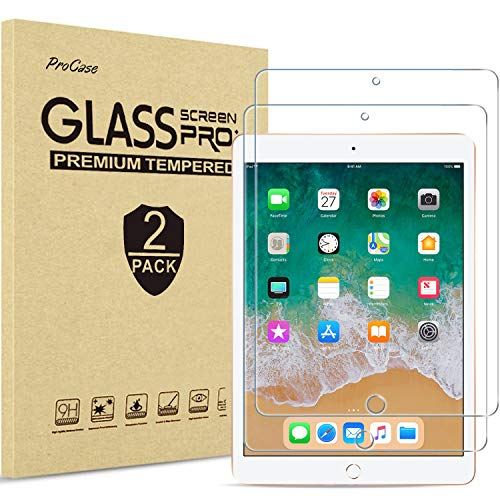 [2 Pack] ProCase Screen Protector for iPad 9.7 (2018/2017,5th/6th generation), iPad Pro 9.7, iPad Air 2 / iPad Air, Tempered Glass Screen Film -Clear