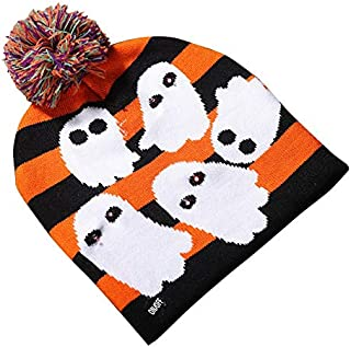 SODIAL LED Halloween Glowing Knit Cap Hat Christmas Sweater Beanie Light Up Knitted Hat Halloween Adult Christmas Party Ghost