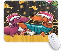 NINEHASA 可愛いマウスパッド クリスマス醜いダックスフント帽子アートエンジェル ノンスリップゴムバッキングコンピューターマウスパッドノートブックマウスマット
