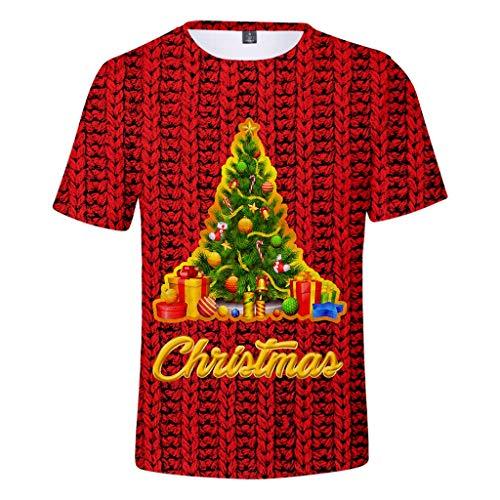 KPILP Herren T-Shirt Männer Weihnachten Drucken Kurzarm T-Shirt Bluse Unisex Weihnachtspullover Xmas Sweatshirt Party Große Größen Shirt mit Rundhals