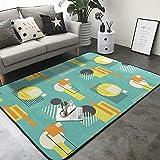 COSNUG Alfombra geométrica retro estilo Bauhaus abstracta patrón alfombra de 1,5 x 1,7 m, poliéster moderno, para salón, comedor, dormitorio, baño, decoración del hogar
