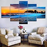 5 Cuadro en Lienzo Tamaño Grande 5pcs / Set Home Living Room Decor Wall Seascape Sunrise Wall Art Picture Print on Canvas Painting Art Impresiones sobre Lienzo