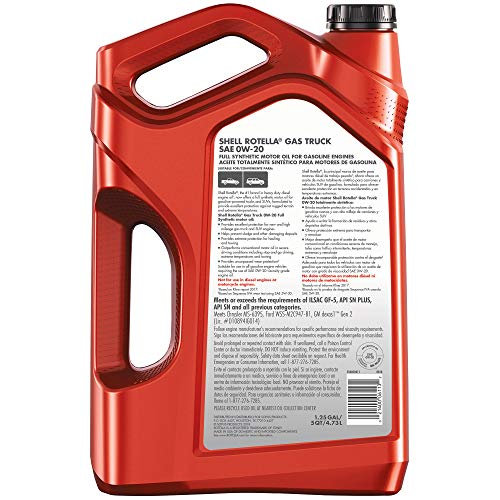 Shell Rotella Gas Truck Full Synthetic 0W-20 Motor Oil for Pickups and SUVs (5-Quart, Pack of 3)