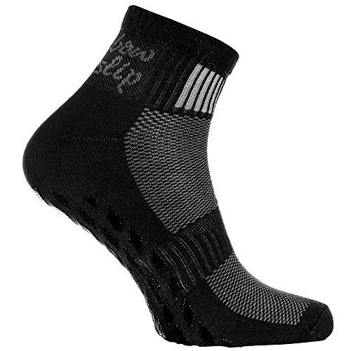 Rainbow Socks - Damen Herren Sneaker Baumwolle Antirutsch Sport Stoppersocken - 1 Paar - Schwarz - Größen 44-46