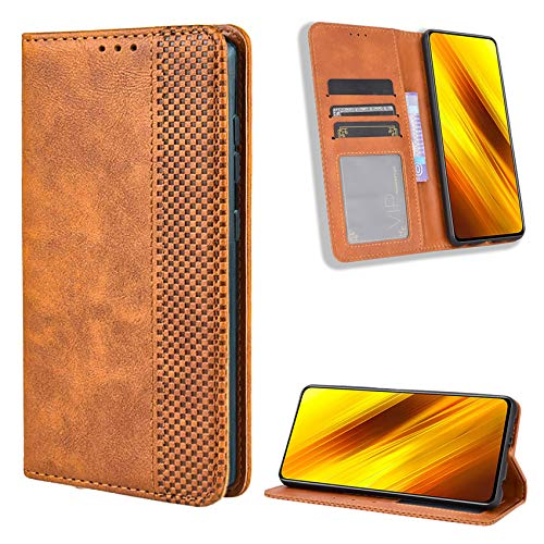 TOPOFU Leder Hülle für Oppo A53/A53S/A33, Premium Flip Wallet Tasche mit Ständer & Kartenfächer, PU/TPU Magnetic Lederhülle Handyhülle Schutzhülle für Oppo A53/A53S/A33 (Braun)