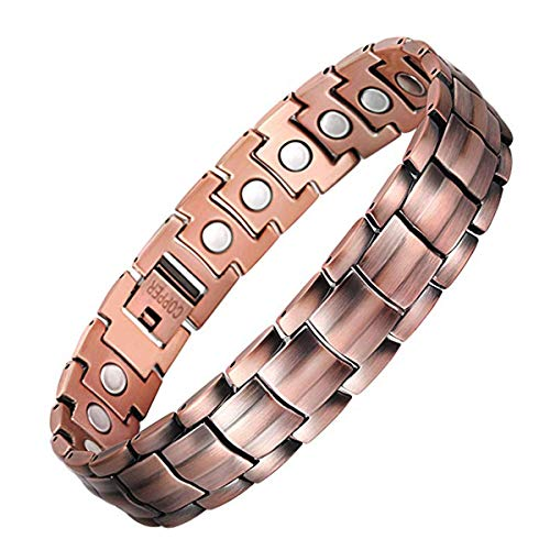 Jeracol Magnetic Bracelet Pure Copper Magnetic Bracelets for Arthritis Pain Relief with Strong Magnets Wristband Adjustable Magnetic Therapy Bracelet with Remove Tool & Gift Box.