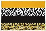Zerbino giallo e nero leopardato zebrato morbido e assorbente acqua tappetino da bagno con stampa di animali antiscivolo per camera da letto soggiorno bagno (45 x 80 cm)