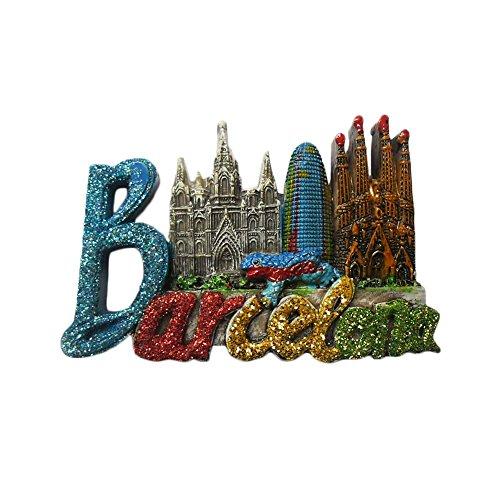 Barcelona Spanien Kühlschrankmagnet, 3D berühmte Touristen-Souvenirs, Buchstaben, Harz, Kühlschrankmagnet, Heim- und Küchendekoration