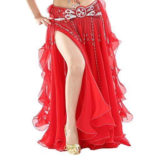 Vobony Falda Danza del Vientre Mujer Profesional Color Sólido Falda de Gasa Largas Disfraz de Baile Vestido de Baile Ropa de Rendimiento (Rojo)
