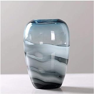 XJJZS Vase Décoration Salon Dégradé Bleu Transparent Vase en Verre Dégradé