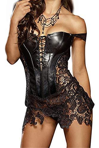 SxyBox Mujer Corsé de Cuero de imitación Sexy Ajustable Corset Vestido Vintage Bustier con Tanga,Negro (Ropa)
