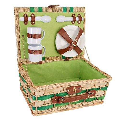 Premium Willow Picnic Basket with Service for 2 - Green