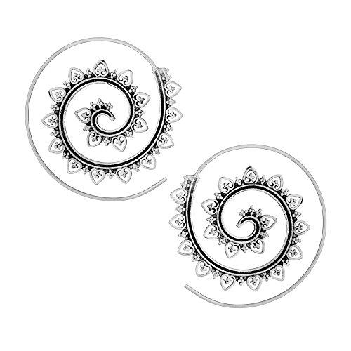 81stgeneration 40 mm Aretes Pendientes Espirales Tribal Indio Mujer Plata de Ley Esterlina .925