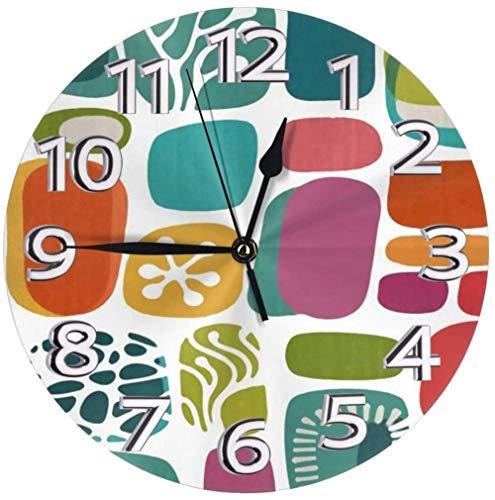 XXSCXXSC Reloj de Pared Relojes de Escritorio geométricos de Mediados de Siglo Decorativos para la Cocina de la Oficina Creatividad precisa