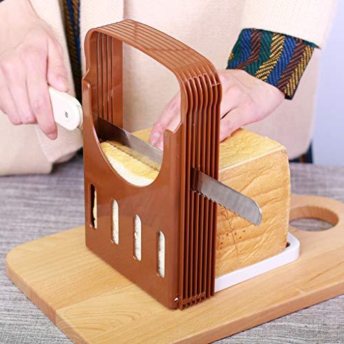 Bread Slicer, Adjustable Bread/Roast/Loaf Slicer Cutter,Folding Bread Toast Slicer Bagel Loaf Slicer Sandwich Maker Toast Slicing Machine with 4 Slice Thicknesses (Coffee)