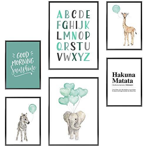 Frechdax® Kinder Poster Set | Wandbilder als Kinderzimmer Deko | 2 x DIN A3 & 4 x DIN A4 - ca. 30x42 & 21x30 | ohne Bilderrahmen (» Elefant, Giraffe, Mint, Luftballons «)