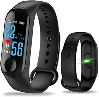 Aubess Pulsera de Fitness con pulsómetro – M3 Resistente al Agua IP67 Smart Fitness Tracker Reloj Pantalla a Color con GPS Alta precisión pulsómetro (Negro)
