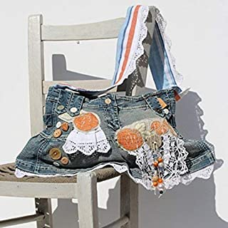 Story Bag Busy Lizzy Artistic One-of-a-kind Upcycled Boho Denim Jeans Shoulder Messenger Purse Grey Black Colorful Unique Gift for Her
