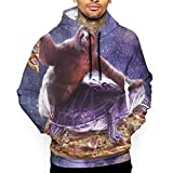 Men's Trippy Space Sloth Turtle Pizza Pullover Hoodie Sweatshirt with Pockets
