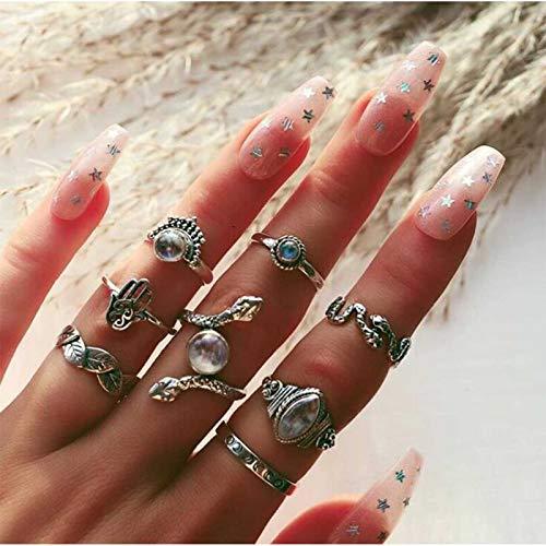TseenYi Juego de anillos bohemios de serpiente dorada Midi articulación de nudillos tallados vintage anillos punk elegantes accesorios de mano joyería para mujeres y niñas
