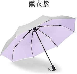 AUWANGAOFEI Titanium Silver Paste Folded Hand Opening Sunscreen Dual Pocket Collapsible Umbrellas Vinyl Barometer (Color : Purple)