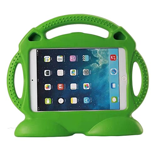 Teckology iPad Air Soft Thick EVA Foam Rubber Carrying Case Kids cute Light Weight Shock Proof Handle Stand Cartoon Cover Skin for Apple iPad 5th Generation /iPad 6th Generation only (Green)