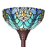 Cotoss Tiffany Style Floor Light, Torchiere Floor Lamp, 70 Inch Tall Tiffany Pole Lamp, Victorian Stained Glass Floor Lamps, Standing Lamp, Leaded Glass Floor Lamp for Living Room