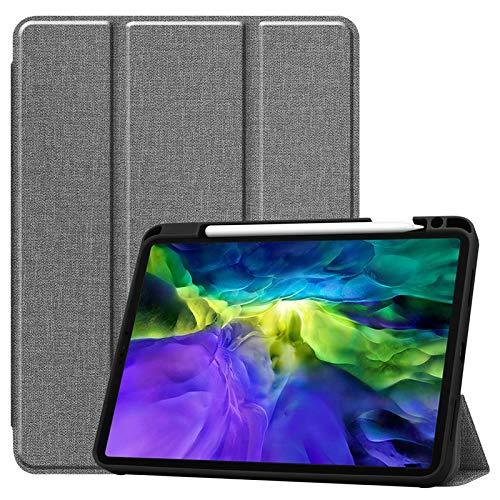 WAZS Tablet-hülle Kompatibel Mit Pad 2020 Hülle 12,9 Zoll, Mit Federhülle Ledertasche, Magnetische Smart Falthülle Schlanke, Leichte Shell-ständerabdeckung grau