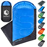 Summer Sleeping Bag, Single, Regular Size - Lightweight, Comfortable, Water Resistant Backpacking Sleeping Bag for Adults & Kids - Ideal for Hiking, Camping & Outdoor Adventures – Blue / Gray