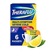 Theraflu Nighttime Multi-Symptom Severe Cold Hot Liquid Powder Green Tea and Citrus Flavors Box, 6...