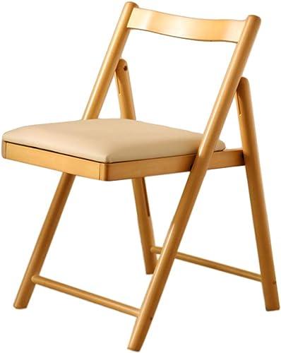 Chaise pliante Tabouret pliable commode de ménage de chaise de dossier confortable en bois massif de chaise (Couleur   Couleur du bois)