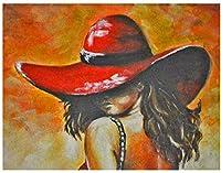 ジグソーパズル2000ピース子供大人大ジグソーパズルおもちゃギフトクリエイティブ減圧DIYチャレンジアート画像-赤い帽子をかぶった女性 70 X 100cm
