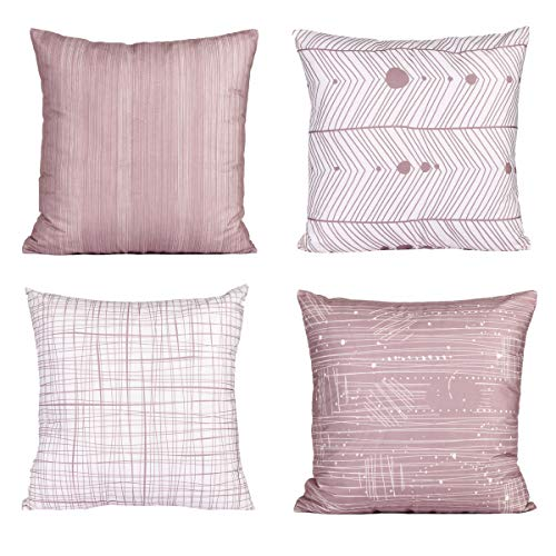 FabThing Cushion Covers Decorative Throw Pillow Covers Square Pillowcase Colorful Geometric Cotton for Sofa Home Bedroom Set of 4,18x18 Inch Light Pink