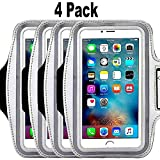 4Pack Universal Armband for iPhone X,XS,XR MAX, 8, 7, 7 Plus,5c 5s 6 6s Plus, LG G5,Samsung Galaxy S6,S7,S8 Plus S9 Edge S6 LG G3 G4 G5 HTC One Nexus 4 5 Slim Fit case not for iPhone 4 4s