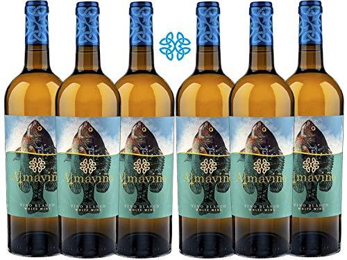 ALMAVIÑO Vino Blanco - caja de vino - Vino bueno para regalo - Vino gallego de autor - 6 botellas x 75cl
