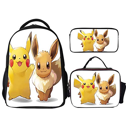 Poke-mon Backpacks 3Pcs Set,Pikachu Eevee,16' Backpack with Lunch Bag and Pencil Case Kids 3 in 1 Bookbags Set Cute School Bag for Teen Girls Boys Water Resistant