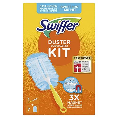 Swiffer Staubmagnet (Handgriff + 7 Tücher) Staubwedel ideal gegen Staub, Tierhaare & Allergene
