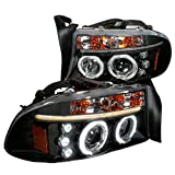 Spec-D Tuning 2LHP-DAK97JM-TM Dodge Dakota Durango Dual Halo Black Projector Head Lights
