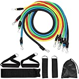 YINXN Resistance Bands Set, 11Pcs Fitness Training Resistance Bands Strong Workout Stretch Cord Tension Rope for Men Women Sports,Home, Gym,Yoga Fitness