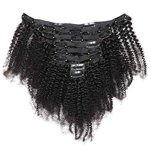 African American Afro Kinky Curly Clip in Human Hair Extensions for Black...