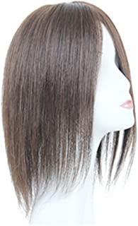 Remeehi Real Human Hair Momo Clip in Hand-crocheted Toppers Hairpieces Closure for Thin Hair 1# Dark Brown