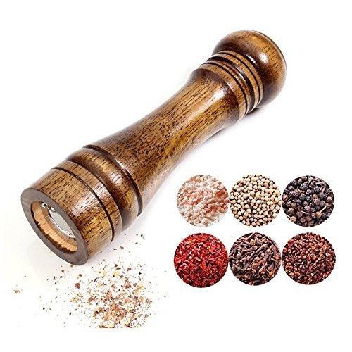 BTMB 8 Inch Salt and Pepper Grinder Solid Oak Wood Salt Spice Pepper Mill with Adjustable Ceramic Grinder