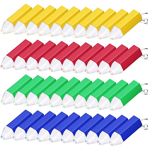 60 Pieces Mini Flashlight Keychain Crayon Design Flashlight Plastic Flashlight Keychain for Hiking Camping Party Favors