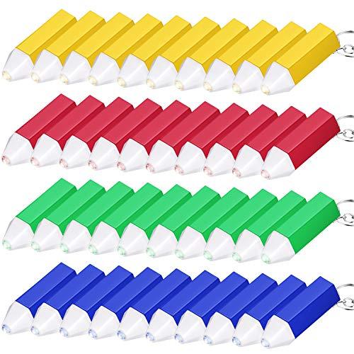 60 Pezzi Mini Torcia Portachiavi Disegno a Matita Mini Torcia in Plastica Portachiavi Torcia per Bomboniere da Campeggio per Escursionisti Edit
