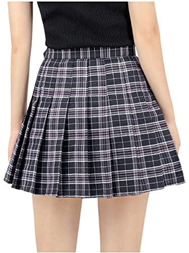 DAZCOS US Size 0-22 Plaid Skirt High Waist Japan Uniform Style with Shorts for Women (Medium, Black)