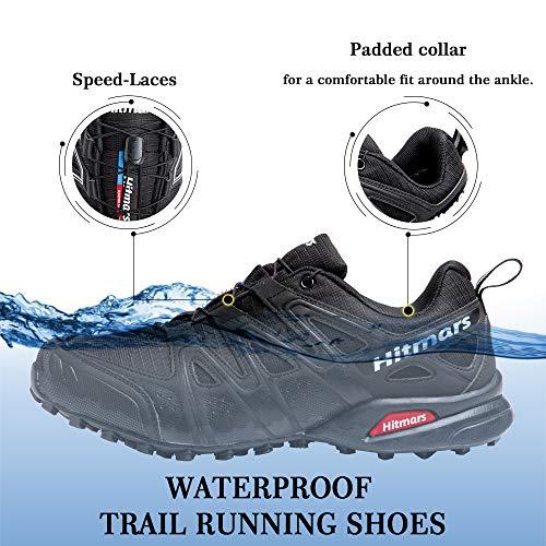 Zapatillas De Trail Running Impermeables para Hombre Mujer Zapatillas Trekking Zapatos Senderismo Deporte Negro Talla38